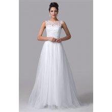 Bílé dlouhé svatební šaty s krajkovým korzetem a tylovou sukní