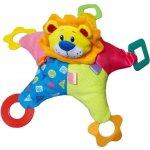 BABY MIX Plyšová hračka s chrastítkem a kousátky barevný lev