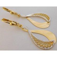 faa9fc080 Luxur Gold zlaté náušnice žluté zlato v kombinaci s lesklou bílou  povrchovou úpravou 1430936