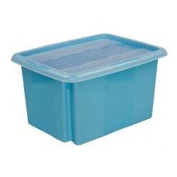 f12d46cb3 Plastový svět Colours Plastový box modrý s víkem 15 l 38 x 28,5 x 21 ...