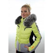 Icepeak dámská zimní bunda Cathy I 53205 501 limetkově žlutá s kožešinovým lemem