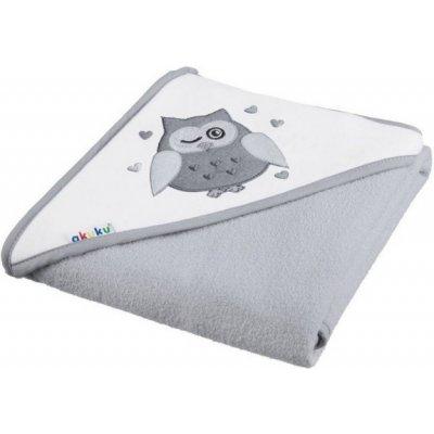 Akuku Dětská osuška s kapucí 100x100cm, froté - Sova, šedá (Rozměr: 100x100 cm, barva: šedá)