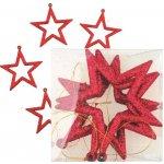 Hvězdy, závěsná dekorace červená s glitry