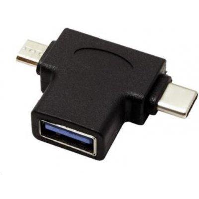 Adaptér USB3.0 female na dva konektory USB 3.1 C/male + micro USB B/male