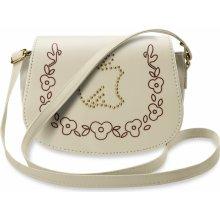 602f4cdf0c dámská listonoška kabelka s klopou s ozdobnými cvočky béžová