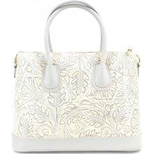2e2578ba9bea Arteddy dámská kožená kabelka s květovaným vzorem krémová světle šedá