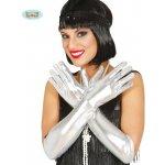 Rukavice dámské stříbrné dlouhé 44 cm