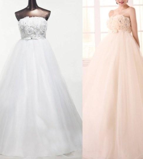 Šaty na svatbu Krásné těhotenské svatební šaty 830-830 bílá ivory ... 2ad33066ed1