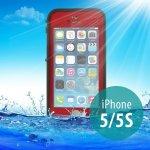 Pouzdro Redpepper Voděodolné Apple iPhone 5/5S/SE s podporou funkce Touch ID - červené s černém rámečkem