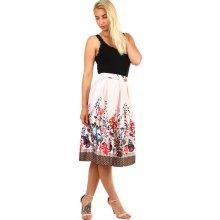 e8665a348e55 TopMode dámská skládaná áčková retro sukně s potiskem světle růžová