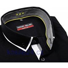Marvelis Body Fit Černá košile s dvojitým límcem a vnitřní manžetou a légou 31fc79e4dd