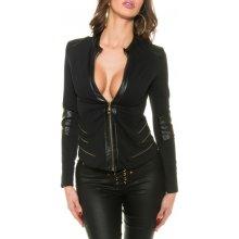 Dámský kabátek s koženkou černá