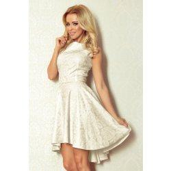 83dffbf920cc Dámské společenské a plesové šaty exkluzivní ANAT 665 s asymetrickou sukní  krátké ecru
