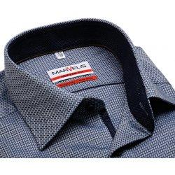Pánská Košile Marvelis Modern Fit – modro-bílá košile s vetkaným vzorem a vnitřním  límcem 8222ae0c56