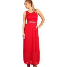 24705915ad1c Dlouhé šaty s krajkovým vrškem 282763 červená
