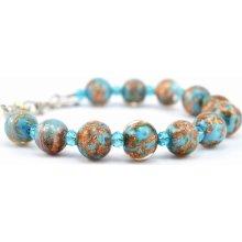 Murano náramek skleněné korálky modrá Sommerso 10000423801