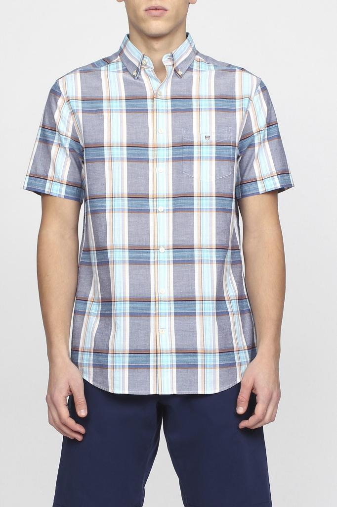 Gant Pánská košile O2. INDIAN MADRAS REG SS BD modrá od 3 499 Kč -  Heureka.cz e03be02e1a