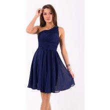 bef797873886 Eva   Lola dámské společenské šaty na jedno rameno středně dlouhé tmavě  modrá