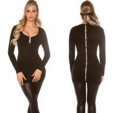 Koucla dámské pletené šaty dlouhý svetr s mašličkami černá 32bc2af8ef