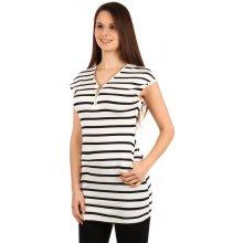 YooY moderní pruhované tričko šaty bílá 6fde417127