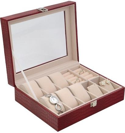 JKBox dámská kazeta na hodinky a šperky SP-1814 A7 červená od 1 190 Kč -  Heureka.cz 182a161fa3