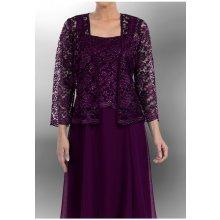 Dlouhé plesové šaty fialové s krajkou