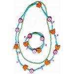WOODYSouprava dvojitý náhrdelník a náramek Motýlci a květiny