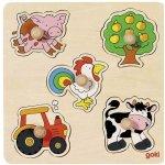 Goki Dřevěné puzzle s úchytkami Na vesnici 5 dílků