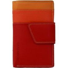 Dámská kožená peněženka vícebarevná červená