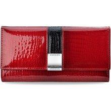 Lorenti Lakovaná velká dámská peněženka červená s ozdobným zapínáním červená 79d0c61552e