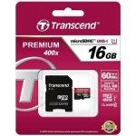 Transcend microSDHC 16GB UHS-I + adaptér TS16GUSDU1