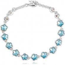 Swarovski Elements náramek BLUE FLOWERS rhodiovaná ocel, modré krystaly OI_340207_blue