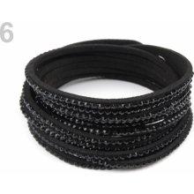 Náramek s kamínky dvojitý 6 černá