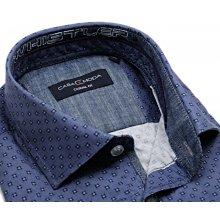 Casa Moda Casual Fit – luxusní kovově modrá košile s tištěným vzorem a8773ad212