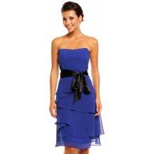 dc9a52d2d18a MAYAADI korzetové společenské a plesové šaty s mašlí a zdobenou sukní  Deluxe 345 modrá