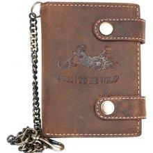 Kožená peněženka s motorkou, se dvěma upínkami a 35 cm dlouhým kovovým řetězem a karabinkou