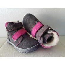 Zimní kožená barefoot obuv B4 šedá-růžová e80f1b11b3