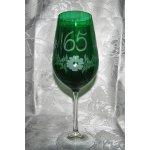 Lužické sklo Jubilejní zelená číše výroční sklenička broušená Kytička dárkové balení satén J-400 600 ml 1 Ks