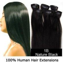 CLIP IN (klipy) pravé lidské vlasy remy 50cm odstín 1B přírodně černá 6 částí