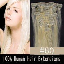 CLIP IN (klipy) pravé lidské vlasy remy 50cm odstín 60 platina 8 částí