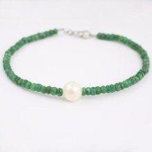 Náramek Klenota smaragdový s perlou kln0022