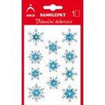 Arch Holografické dekorační samolepky vánoční s glitry 704-SG modro-stříbrné 8,5x12,5 cm