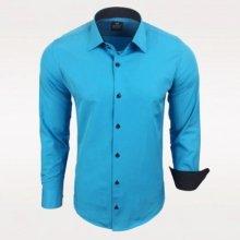 Rusty Neal Pánská košile Slim Fit s dlouhým rukávem tyrkysová b0127d5a9a