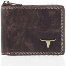 18e3c600ffd Buffalo Pánská kožená broušená peněženka na zip hnědá Talehot hnědá