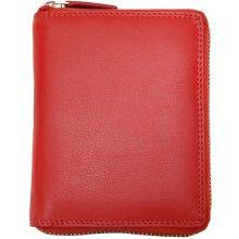 kožená peněženka celá dokola na zip Červená