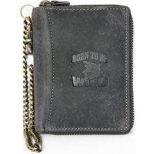 Born to be wild šedá kožená peněženka se žralokem dokola na zip s řetězem a karabinkou