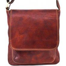 ae91af483f Arteddy pánská kožená taška přes rameno s klopnou hnědá