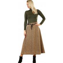 cd2048446ab Glara dlouhá úpletová sukně s melírovaným vzorem béžová
