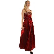 Dlouhé lesklé večerní šaty se zlatou výšivkou 150190 červená e377029c63