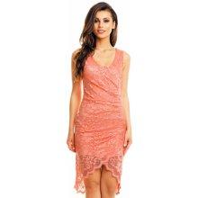 161950e1706a MAYAADI společenské a plesové šaty krajkové s asymetrickou sukní lososová